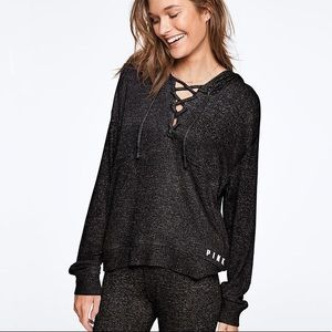 Like New! VS PINK Cozy Slouchy Lace-Up Pullover